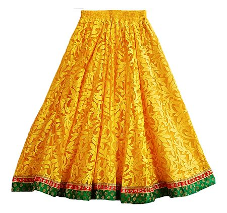 Yellow Brasso Long Skirt with Zari Border with Adjustable Elastic Waist