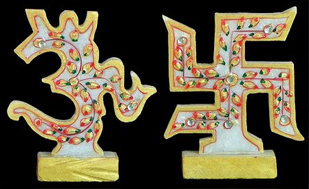 Swastika And Om Auspicious Hindu Symbols
