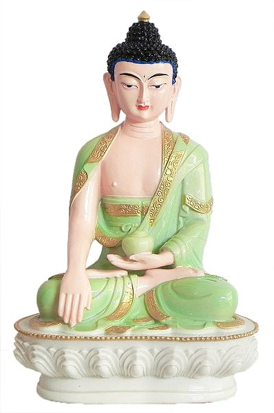 Medicine Buddha Wearing Light Green Robe