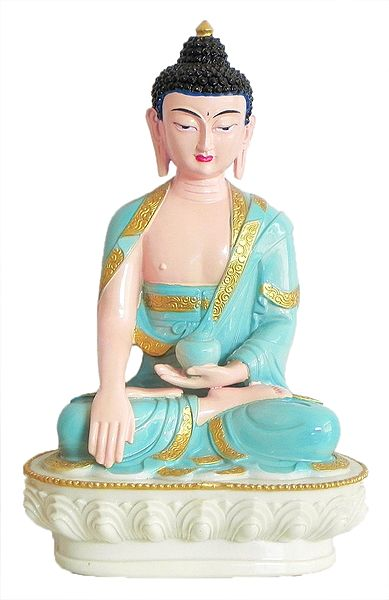 Medicine Buddha Wearing Light Blue Robe