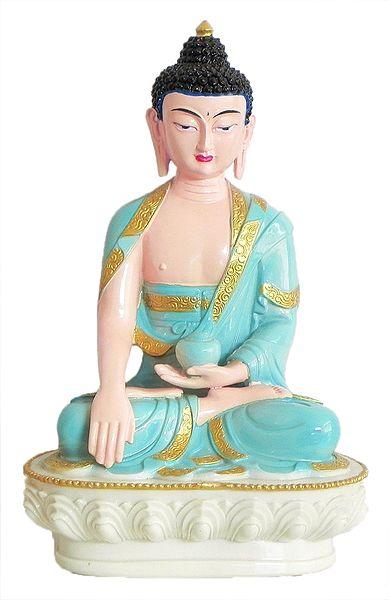 Medicine Buddha Wearing Light Blue Robe