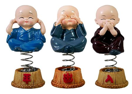 Set of 3 Baby Monks For Car Dashboard