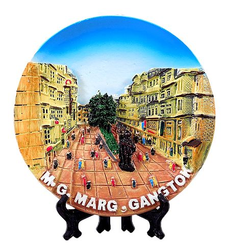 Gangtok Market on Plate - Stone Dust Showpiece