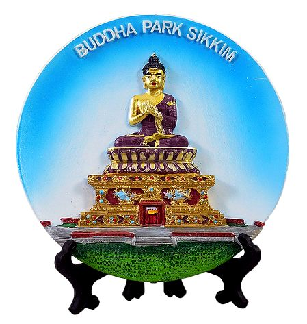 Buddha on Plate - Stone Sculpture