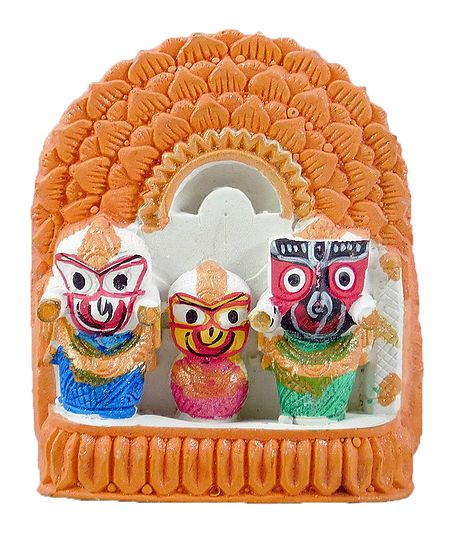 Jagannath, Balaram, Subhadra with Saffron Chali for Car Dashboard