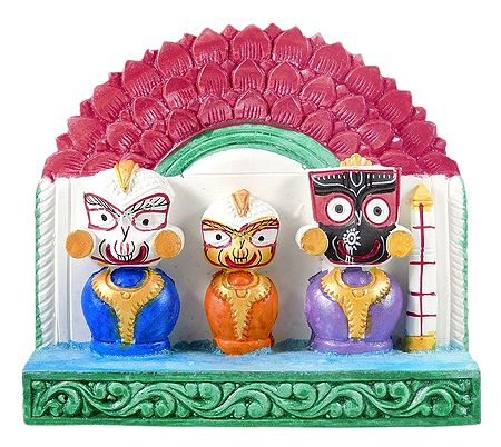 Jagannath, Balaram, Subhadra with Red Chali
