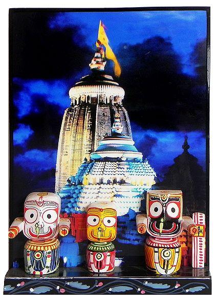 Jagannath, Subhadra and Balaram with Puri Temple in Background