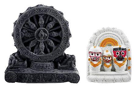 Jagannath, Balaram, Subhadra with Chariot Wheel of Konark Temple