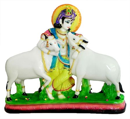 Cowherd Krishna Embracing His Cows