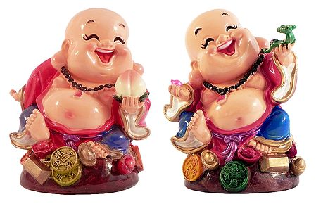 Set of 2 Laughing Buddha