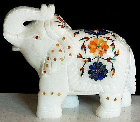 Colored Stone Inlay On White Marble Elephant