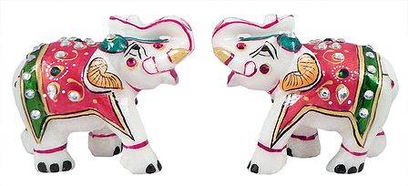 Set of 2 Decorative Elephants