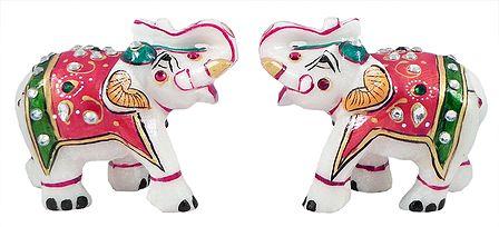 Set of 2 Decorative Elephants - Marble Statue