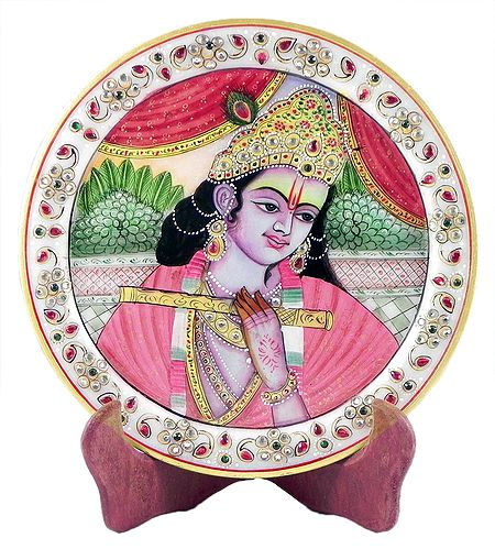 Murlidhar Krishna Painting on Marble Plate - Showpiece