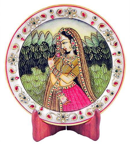 Rajput Princess - Painting on Marble Plate - Showpiece