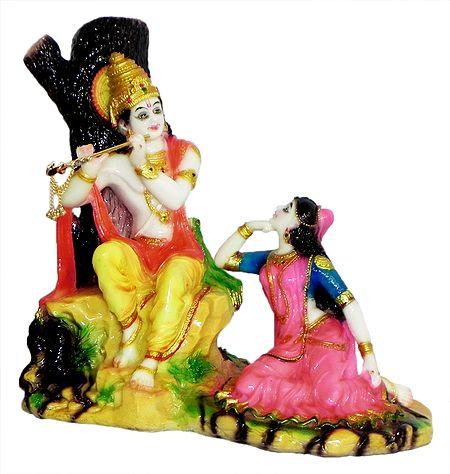 Radha Listening the Sound of Krishna's Flute - The Divine Lovers