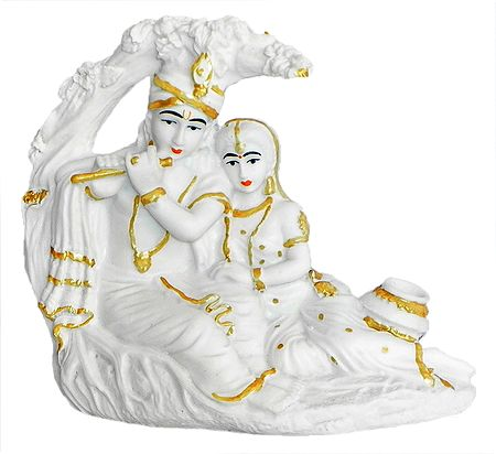 Marble Dust Radha Krishna Sitting Under Tree - Glow in the Dark