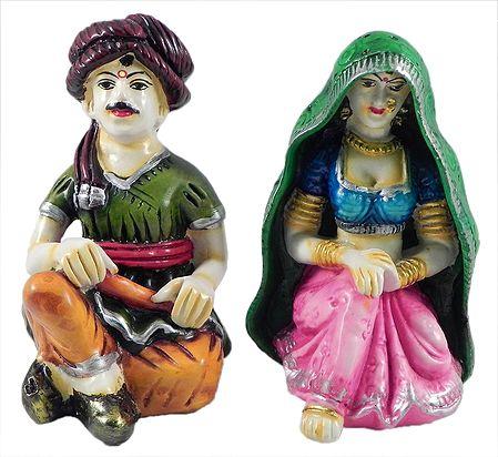 Rajasthani Couple - Set of 2 Stone Dust Statue