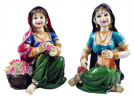 Rajasthani Women - Set of 2 Stone Dust Statue