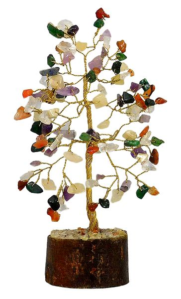 Mixed Gemstone Chips Wire Tree on Wood Base