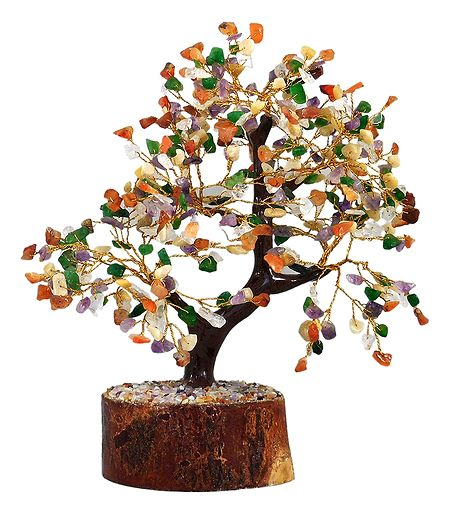 300 Multicolor Gemstone Chips Wire Tree on Wood Base