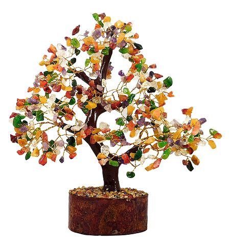 Multicolor Gemstone Chips Wire Tree on Wood Base