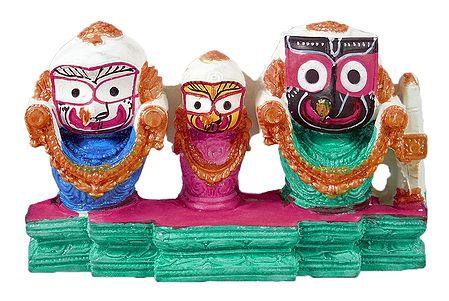 Jagannath, Balaram, Subhadra on Green Base