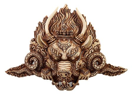Light Brown Stone Dust Garuda Mask for Wall Decoration