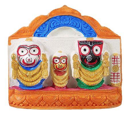 Jagannath, Balaram, Subhadra on Saffron Base