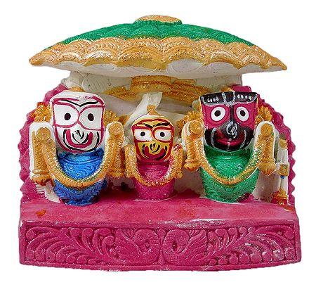 Jagannath, Balaram, Subhadra Under Green Umbrella