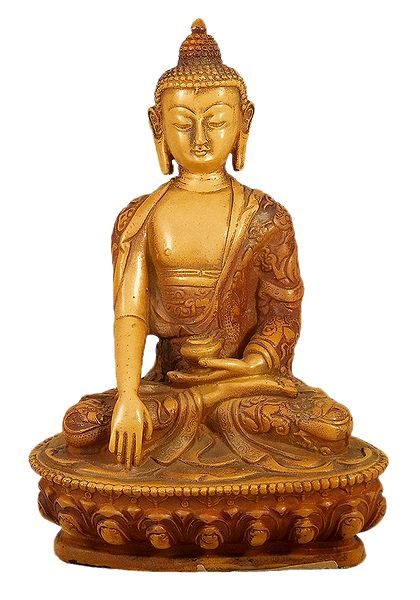 Buddha with Carved Robe in Bhumisparsha Mudra