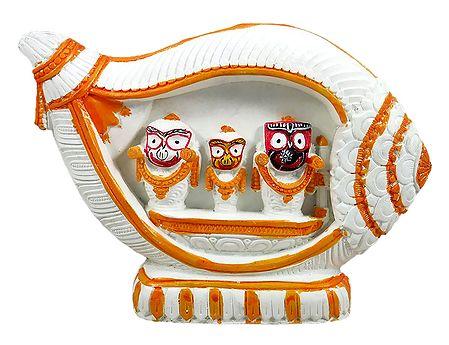 Jagannath, Balaram, Subhadra in a White Conch
