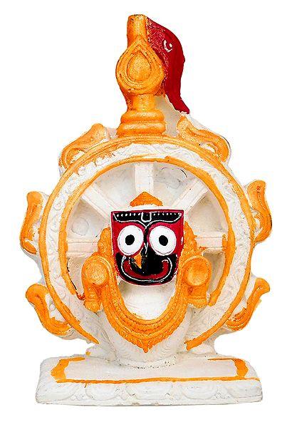 Sri Jagannath in Front of Konarak Wheel with Flag