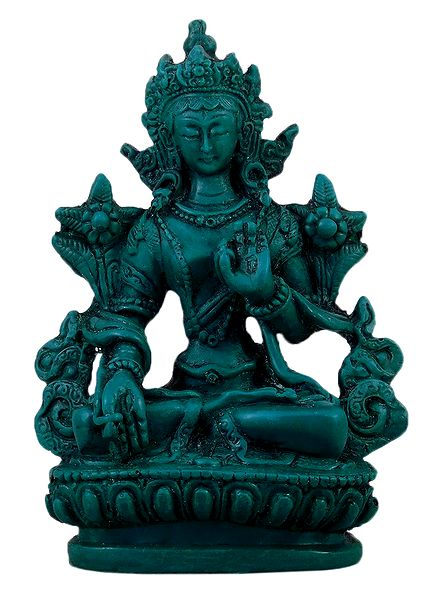 White Tara - Turquoise Stone Dust Statue