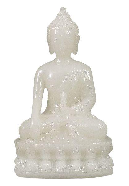White Buddha in Bhumisparsha Mudra