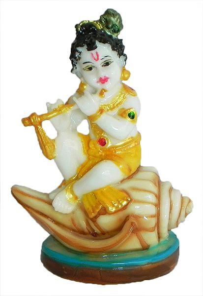 Makhan Chor Krishna Sitting on Conch