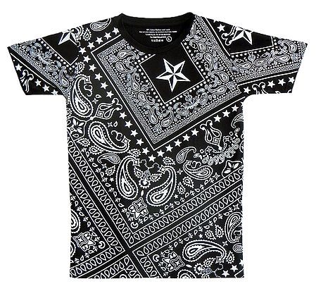 White Paisley Print on Black T-Shirt