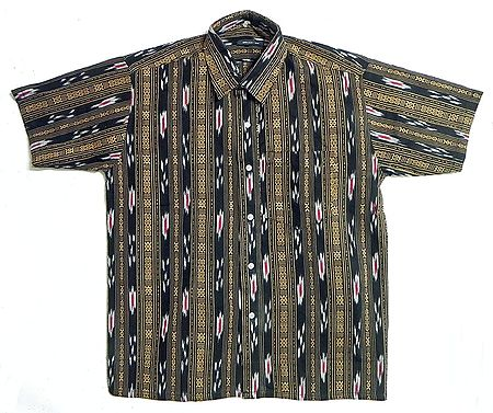 Black Shirt with Ikkat Design