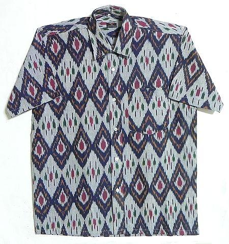 Grey Shirt with Ikkat Design