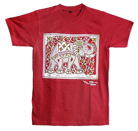 Rubber Print White Elephant on Red T-Shirt