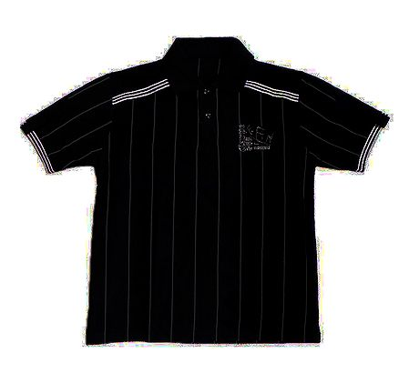 Black Polo T-Shirt with White Stripes
