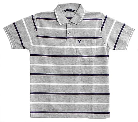 Grey Polo T-Shirt with White and Dark Blue Stripe