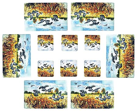 Set of Six Dining Table Mats and Coasters with Flying Birds on a Field Print