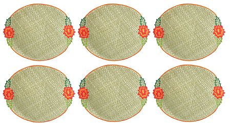 Six Hand Weaved Palm Leaf Table Mats with Embroidery