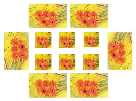 Set of 6 Dining Table Mats and Coasters with Flower  Print