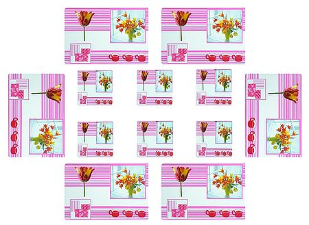 6 Dining Table Mats and Coasters with Flower Print