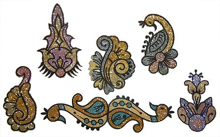 Set of 6 Multicolor Glitter Sticker Tattoos