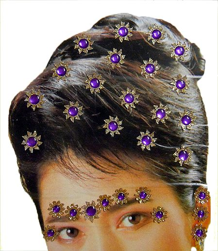 Golden and Purple Color Stone Studded Stick-on Hair, Forehead and Ear Decoration for Brides (Can Be used on Other Parts of the Body)