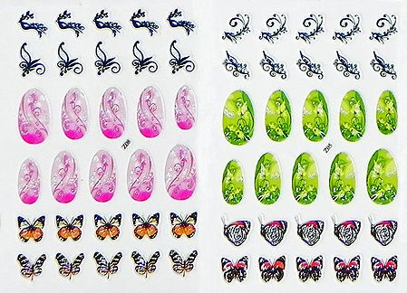 Set of 2 Printed Sheets of Decorative Sticker for Nails