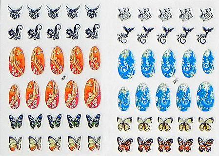 Set of 2 Printed Sheets of Designer Sticker for Nails